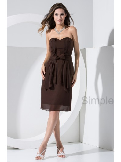 Knee-length Zipper Elastic-Silk-like-Satin/Chiffon Natural Sleeveless Sweetheart Bow ? Brown Ruched Sheath Bridesmaid Dress