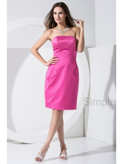 Natural Zipper Fuchsia Strapless Sheath Sleeveless Knee-length Satin Bridesmaid Dress
