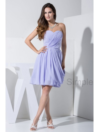 Lavender Sleeveless Sweetheart A-line Natural Zipper Elastic-Silk-like-Satin/Chiffon Ruched Knee-length Bridesmaid Dress