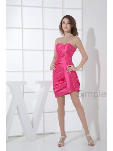 Natural Sleeveless Fuchsia Sweetheart Knee-length Sheath Ruched Elastic-Satin/Chiffon Zipper Bridesmaid Dress