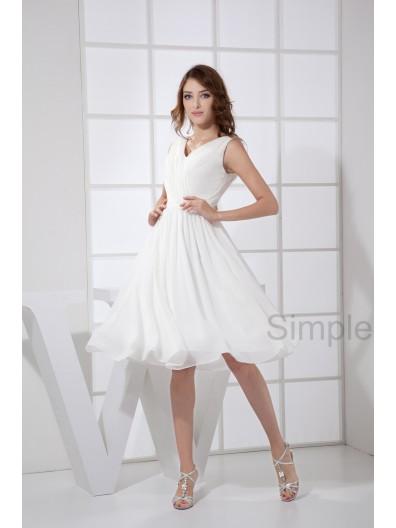 A-line V-neck Sleeveless Zipper Ruched/Cascade Chiffon Knee-length White Natural Bridesmaid Dress
