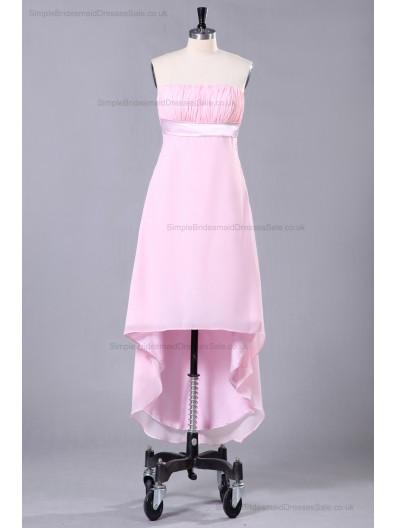 Sheath Zipper Strapless Sleeveless Ruffles/Sash Asymmetrical Natural Pink Chiffon/Elastic-Satin Bridesmaid Dress