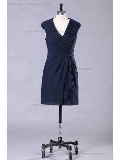 Navy Ruffles/Front-Cross V-neck Dark Sheath Chiffon/Elastic-Satin Natural Sleeveless Zipper Mini Bridesmaid Dress
