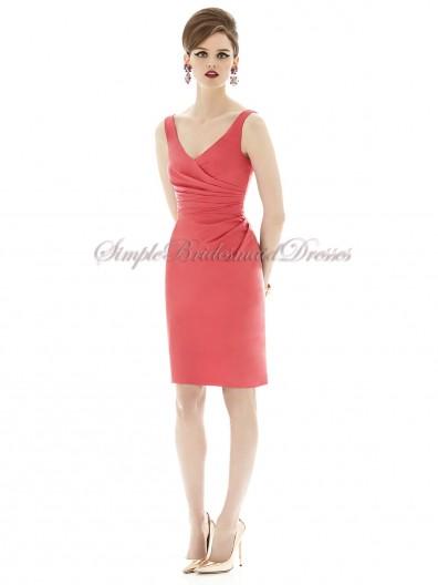 Mini firecracker Ruched Watermelon Dropped Short-length Sleeveless Zipper Satin V-neck Bridesmaid Dress