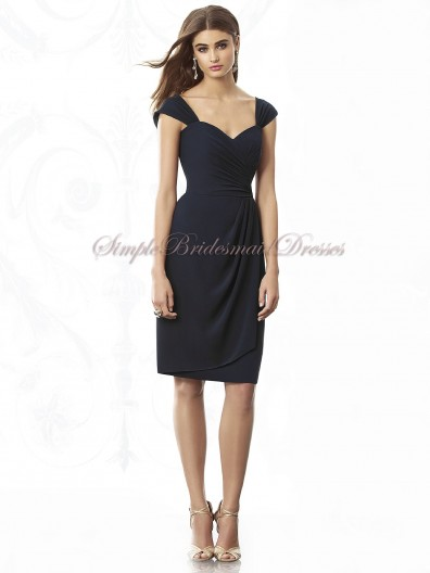 Mini midnight Zipper Sweetheart Natural Ruched Short-Sleeve Chiffon Dark-Navy Short-length Bridesmaid Dress