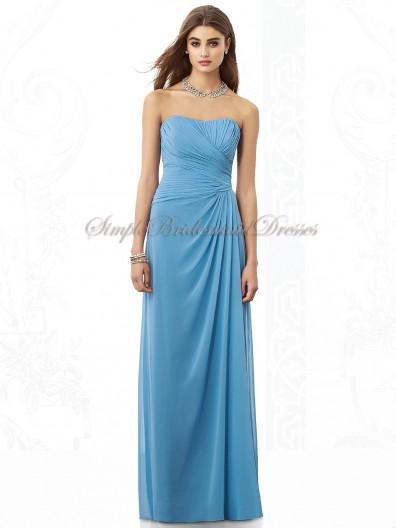 Floor-length Dropped Strapless Blue Chiffon Zipper windsor-blue Ruched Column/Sheath Sleeveless Bridesmaid Dress