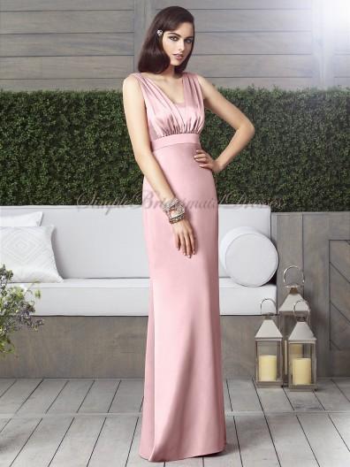 Sash Column/Sheath Satin Floor-length Zipper Straps Empire petal-pink Pink Sleeveless Bridesmaid Dress