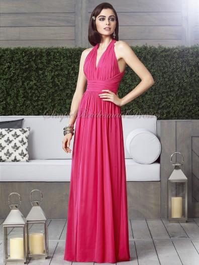 Sleeveless Zipper Chiffon Floor-length V-neck Empire posie watermelon Column/Sheath Draped Bridesmaid Dress