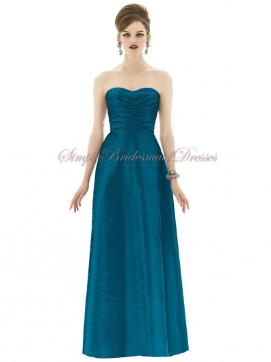 A-line Sweetheart Sleeveless Floor-length caspian Natural Ruched Hunter Zipper Taffeta Bridesmaid Dress