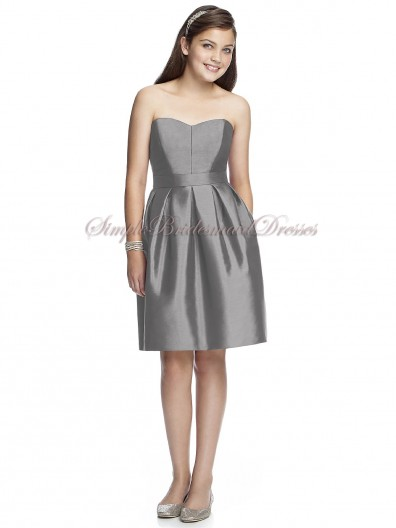 quarry Taffeta Sash Sleeveless Sweetheart Natural Zipper Silver A-line Short-length Bridesmaid Dress