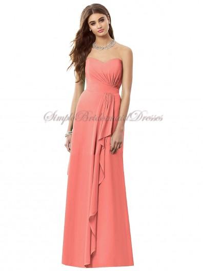 Draped Zipper Sleeveless Natural ginger Chiffon Sweetheart A-line Floor-length Pink Bridesmaid Dress