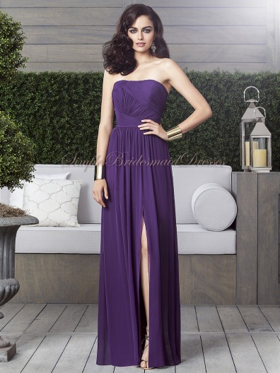 Sleeveless Strapless majestic Ruched/Draped Zipper A-line Chiffon Floor-length Natural Purple Bridesmaid Dress