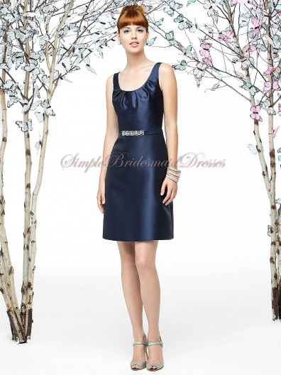 Zipper Satin Sleeveless A-line Beading/Sash Straps Short-length Natural Dark-Navy midnight Bridesmaid Dress