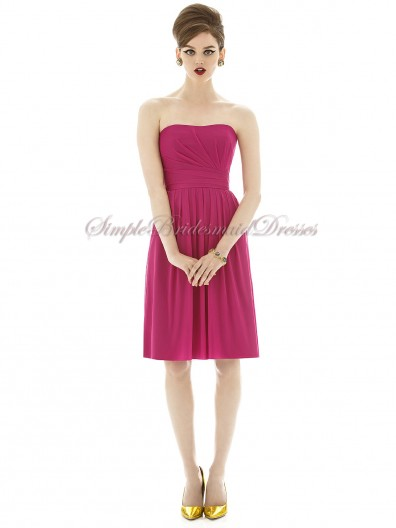 A-line Strapless tutti-frutti Floor-length Chiffon Draped Natural Zipper Fuchsia Sleeveless Bridesmaid Dress