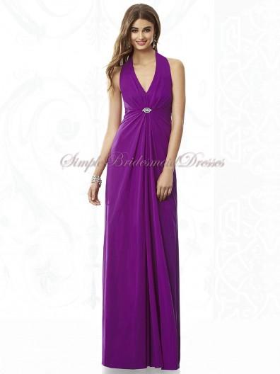 Draped/Beading Chiffon Floor-length A-line Halter/V-neck Purple Empire Zipper dahlia Sleeveless Bridesmaid Dress
