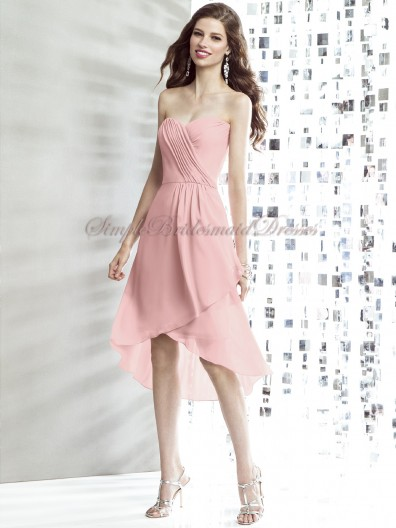 Pink Natural rose Draped Sleeveless Chiffon Strapless/Sweetheart A-line Knee-length Zipper Bridesmaid Dress