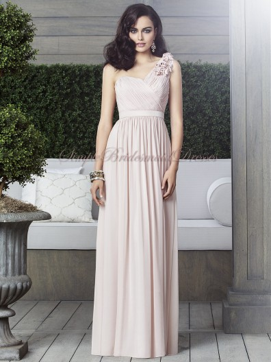 Sleeveless Natural Light-Slate-Gray Chiffon One-Shoulder Zipper Draped/Flowers cameo A-line Floor-length Bridesmaid Dress