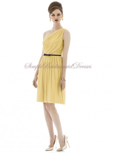 One-Shoulder Sleeveless Daffodil Maize Chiffon A-line Short-length Natural Draped/Sash Zipper Bridesmaid Dress