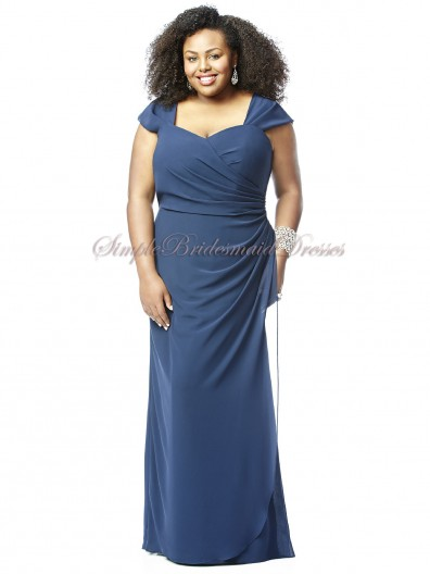 Blue Zipper Floor-length Natural Short-Sleeve Column/Sheath Draped Straps/Sweetheart sailor Chiffon Bridesmaid Dress