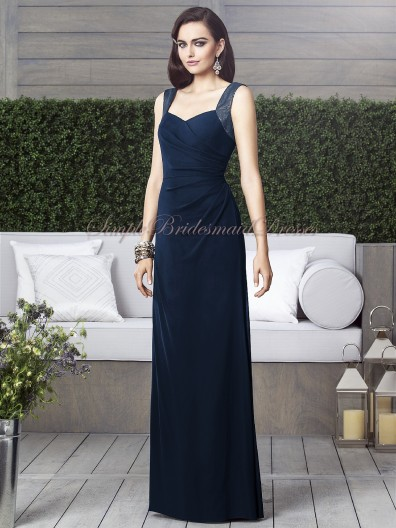 Straps/V-neck Draped Sleeveless Column/Sheath Chiffon midnight Zipper Floor-length Natural Dark-Navy Bridesmaid Dress