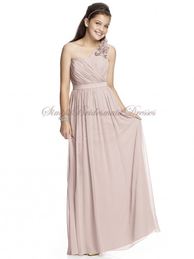 Sleeveless One-Shoulder Zipper Flowers/Draped Empire Pink Floor-length Chiffon cameo A-line Bridesmaid Dress