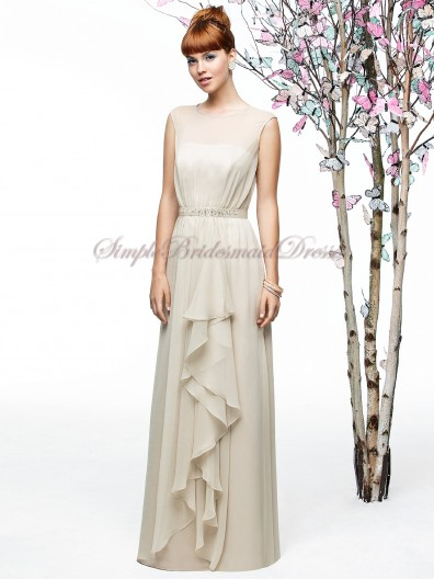 Champagne Chiffon Sleeveless Beading/Draped Bateau palomino Natural Zipper Floor-length A-line Bridesmaid Dress
