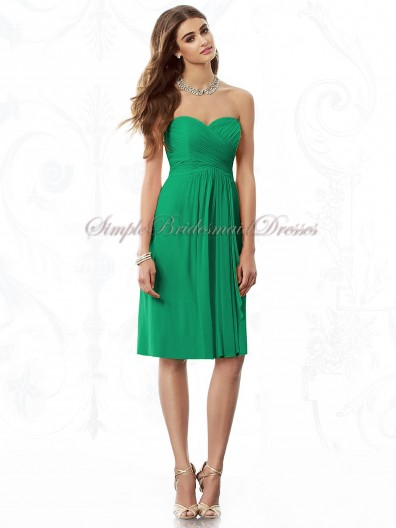 A-line Strapless/Sweetheart Empire Zipper Knee-length Sleeveless Draped PANTONE-Emerald Chiffon Green Bridesmaid Dress