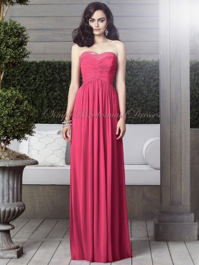 A-line Sleeveless Natural Strapless/Sweetheart Fuchsia Zipper Draped/Sequin Floor-length pantone-honeysuckle Chiffon Bridesmaid Dress