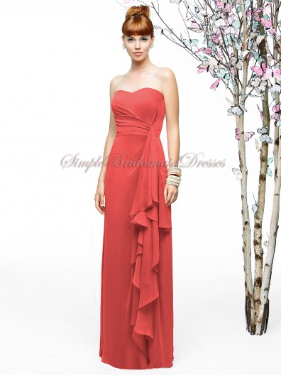 Draped A-line Zipper Orange firecracker Strapless/Sweetheart Sleeveless Chiffon Natural Floor-length Bridesmaid Dress