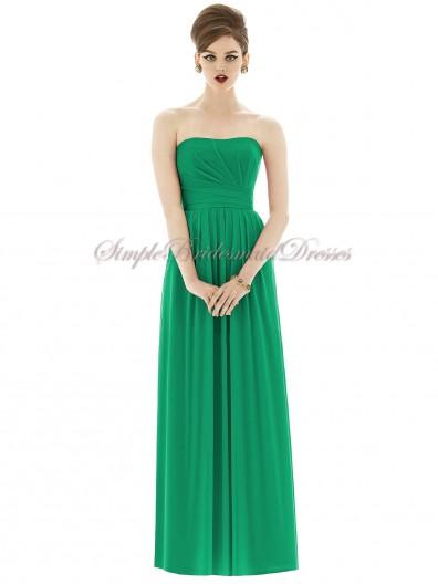Bateau/Strapless Dropped Green Chiffon Draped Floor-length Zipper A-line Sleeveless PANTONE-Emerald Bridesmaid Dress