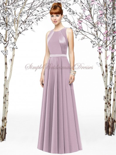 Sleeveless Floor-length Lavender Chiffon A-line suede-rose Zipper Natural Draped Scoop Bridesmaid Dress