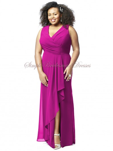 Empire Sleeveless Fuchsia Floor-length Straps/V-neck A-line Split american-beauty Zipper Chiffon Bridesmaid Dress