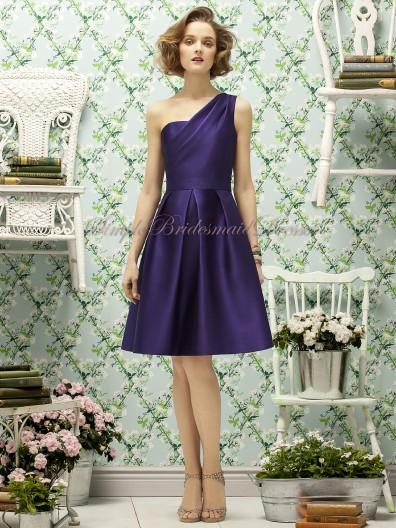 Natural grape Sleeveless Satin Sash Regency Short-length Zipper-Side A-line Strapless/One-Shoulder Bridesmaid Dress