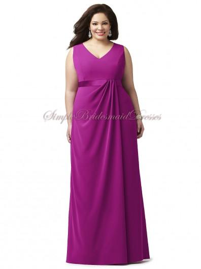 Floor-length Zipper Fuchsia Straps/V-neck Sleeveless A-line Draped/Sash Empire Chiffon persian-plum Bridesmaid Dress