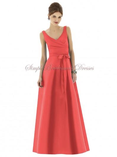 Satin Floor-length Red Straps/V-neck Natural firecracker Zipper A-line Sleeveless Ruffles/Bow Bridesmaid Dress