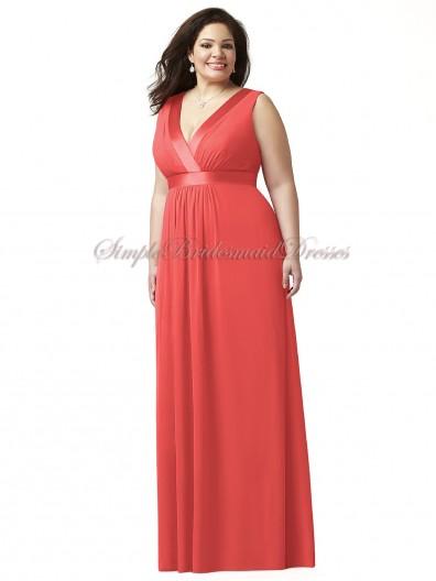 Chiffon Sleeveless Red Draped firecracker Straps/V-neck A-line Empire Zipper Floor-length Bridesmaid Dress