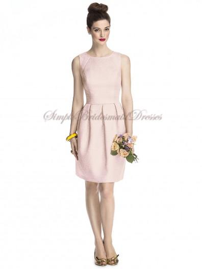 Scoop Natural Sleeveless Pink Mauve-Gold Satin A-line Zipper Short-length Draped Bridesmaid Dress