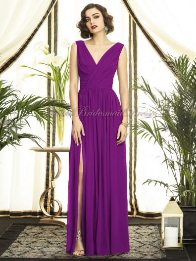 A-line Empire Sleeveless Draped/Split Purple dahlia Zipper Straps/V-neck Floor-length Chiffon Bridesmaid Dress