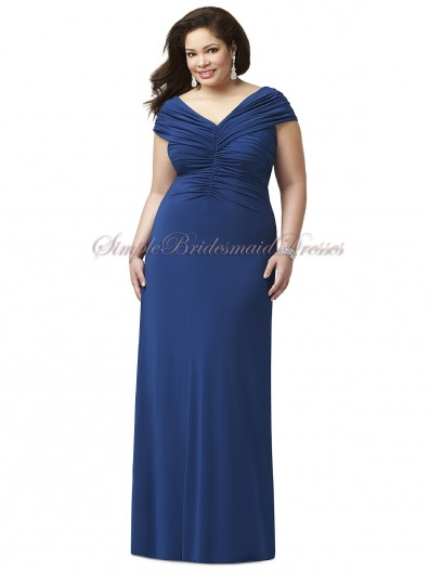 Chiffon Straps/V-neck Estate-Blue Blue Column/Sheath Zipper Sleeveless Natural Floor-length Draped Bridesmaid Dress
