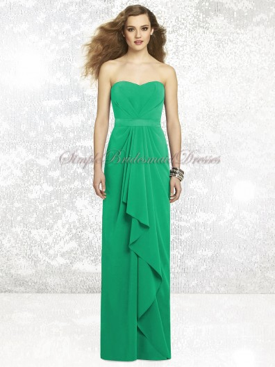Zipper Chiffon Draped/Sash Strapless/Sweetheart Green Floor-length Column/Sheath Natural Sleeveless PANTONE-Emerald Bridesmaid Dress