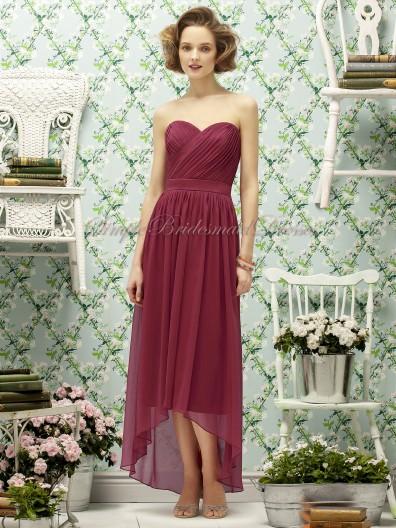 Chiffon Natural Sleeveless Zipper Strapless/Sweetheart Tea-length Draped Burgundy claret A-line Bridesmaid Dress