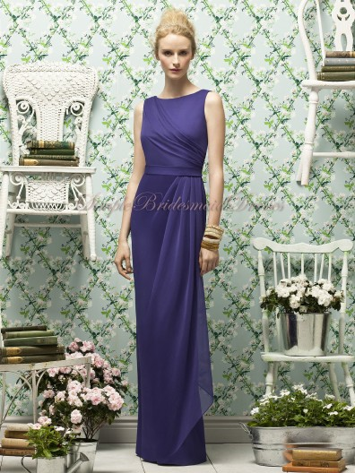 Draped Floor-length Purple Natural Column/Sheath Bateau regalia Chiffon Zipper Sleeveless Bridesmaid Dress