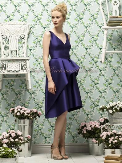 Knee-length Zipper grape Straps/V-neck Natural A-line Satin Sleeveless Grape Layers Bridesmaid Dress