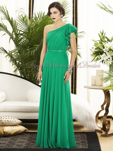 Chiffon Floor-length Zipper-Side Draped/Sash PANTONE-Emerald One-Shoulder A-line Natural Green Sleeveless Bridesmaid Dress
