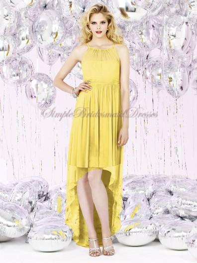 sunflower Floor-length Sleeveless Scoop Draped/Bow Natural Yellow Chiffon Zipper A-line Bridesmaid Dress