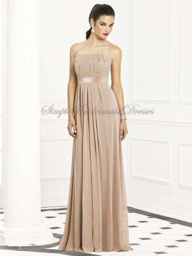Zipper Strapless Empire Sleeveless Floor-length A-line Draped/Sash topaz Chiffon Champagne Bridesmaid Dress