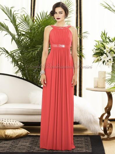 Watermelon Sleeveless A-line Chiffon Floor-length firecracker Scoop Zipper Draped/Sash Empire Bridesmaid Dress