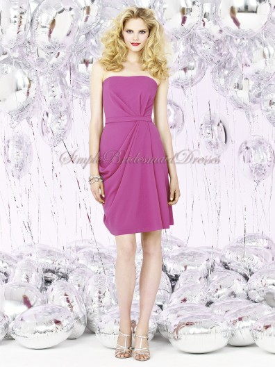 Lilac Strapless american-beauty Sleeveless Draped/Bow A-line Natural Chiffon Short-length Zipper Bridesmaid Dress