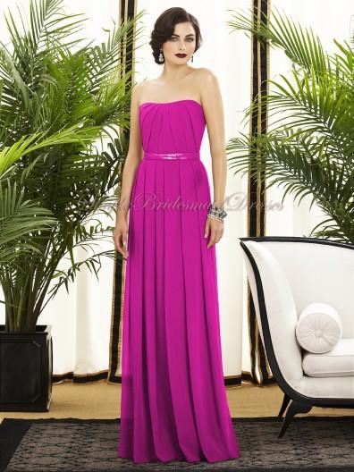 A-line Zipper Chiffon Strapless Floor-length Fuchsia Draped/Sash american-beauty Natural Sleeveless Bridesmaid Dress