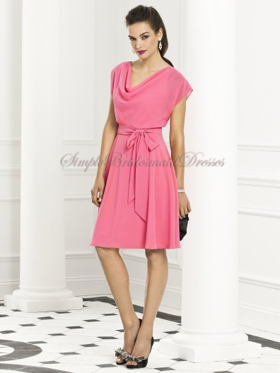 Cowl Draped/Bow A-line Pink punch Natural Chiffon Zipper Short-Sleeve Knee-length Bridesmaid Dress